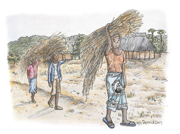 Sketch of Zambian people carrying bales of sticks