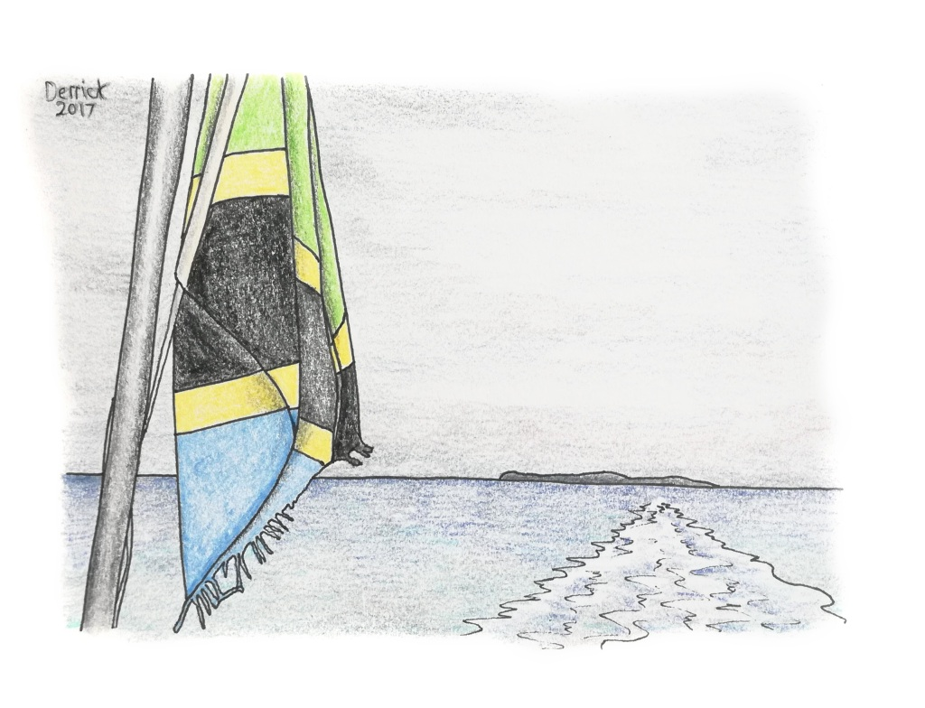 Sketch of the tanzanian flag at the stern of a ferry