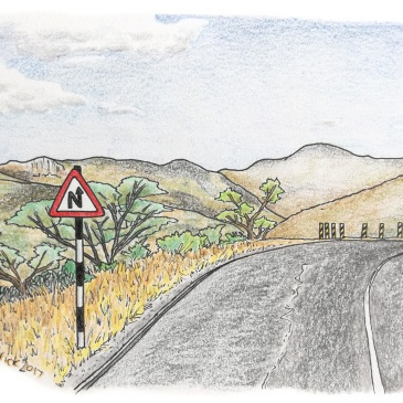 Sketch of a road sign in front of a moubtain road in africa