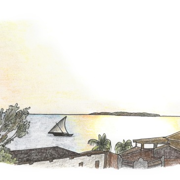 Drawing of a sunset in zanzibar with a traditional dhow fishing boat