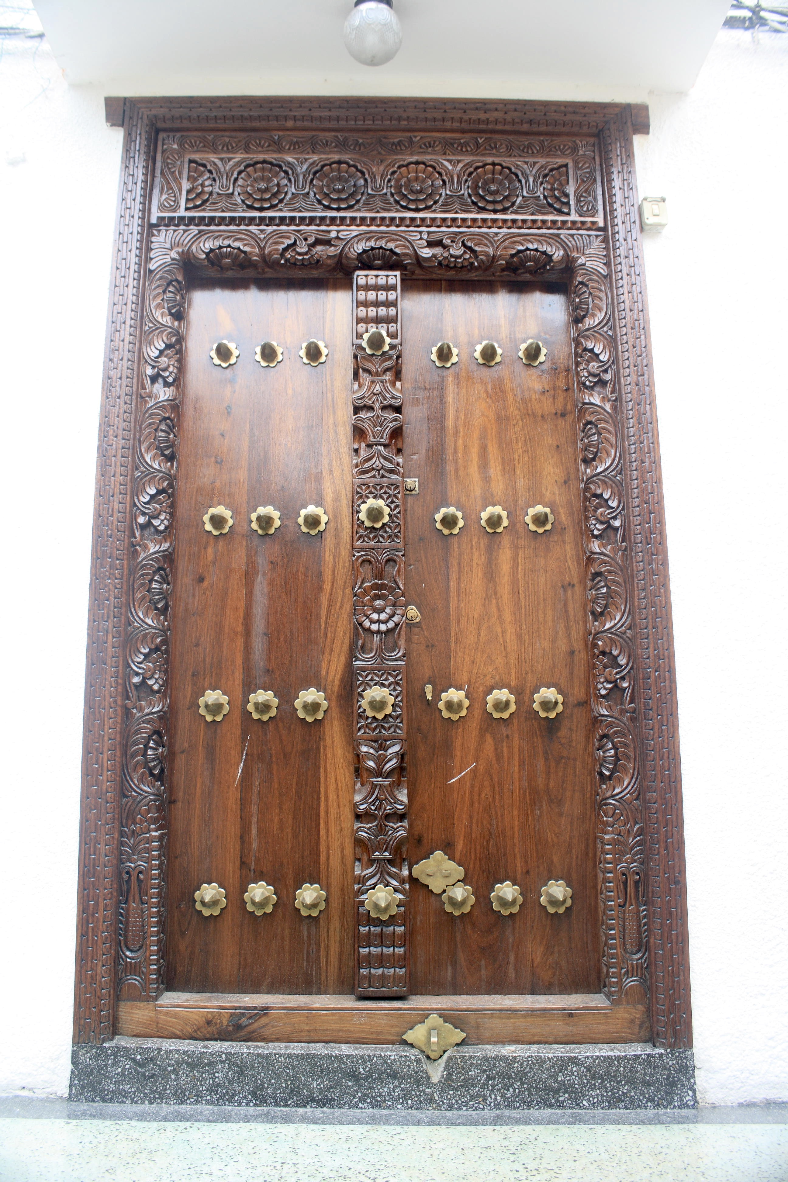 A Zanzibar door in good condition with shiny wood