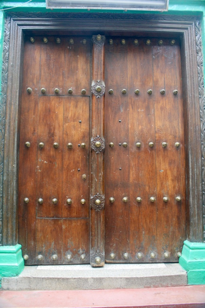 A metal studded door in Stone Town Zanzibar