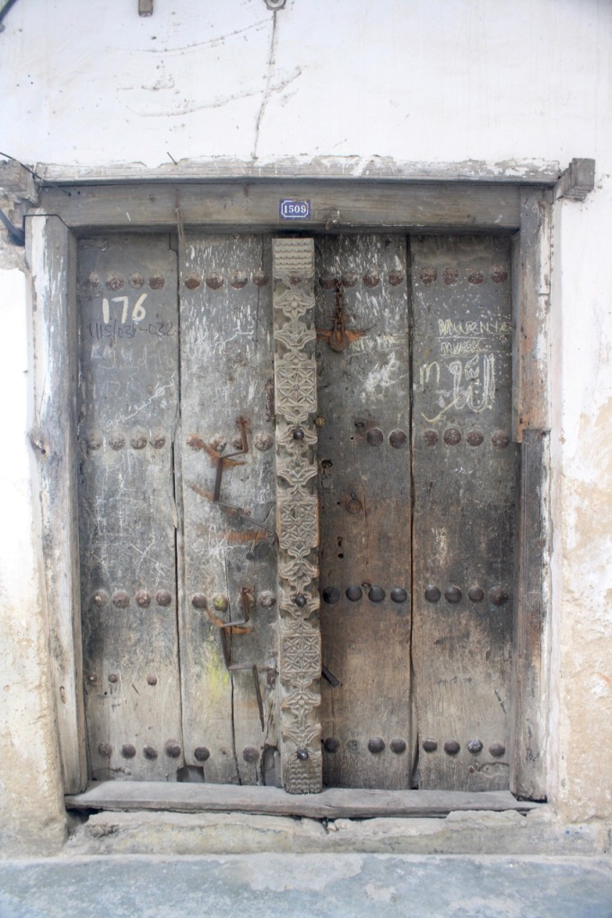 A wooden Zanzibar door with broken wood