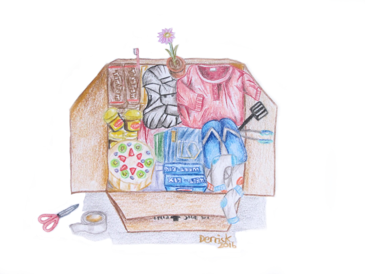 Sketch of a moving box filled with personal possessions
