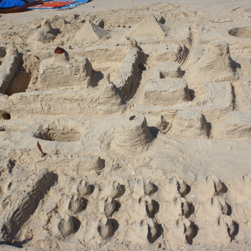 A group of small sand castles