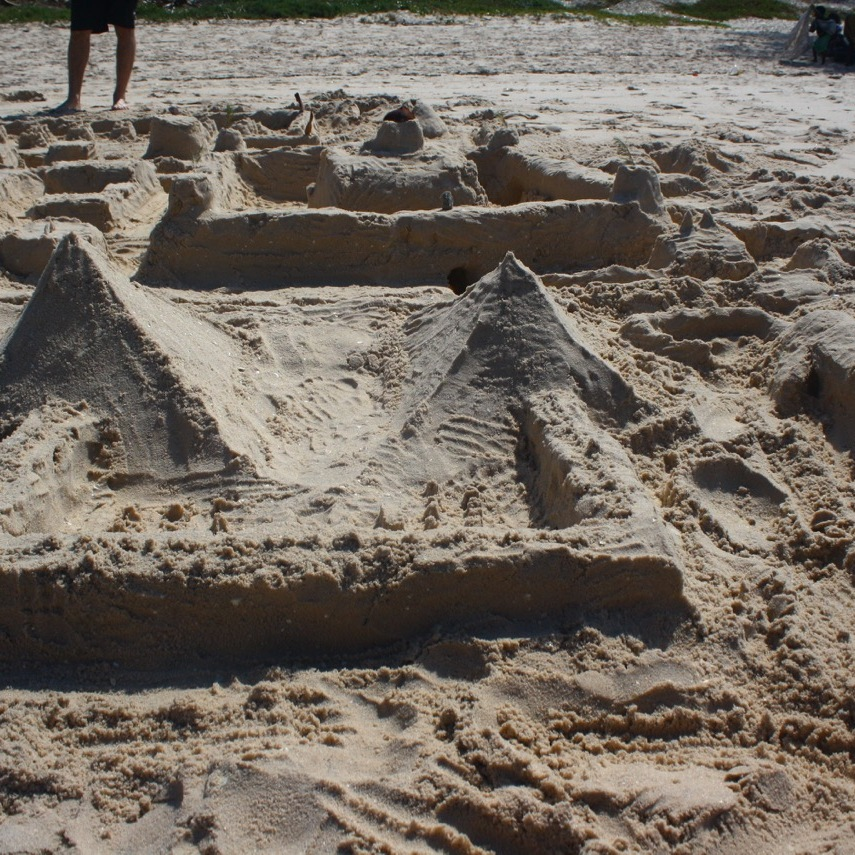Egyptian pyramids as part of a sand castle