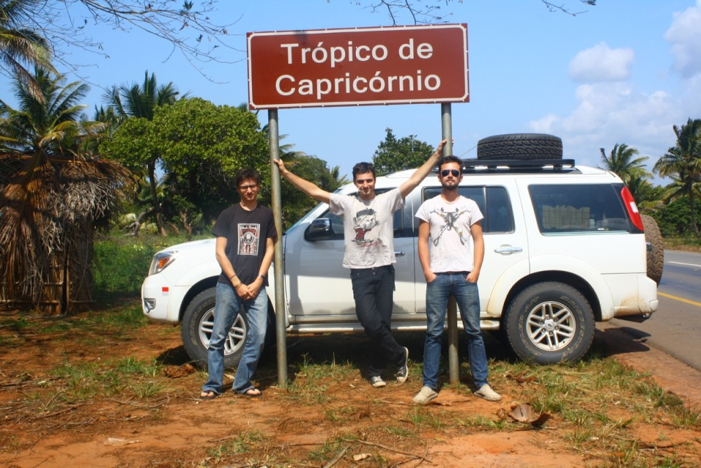 The tropic of Capricorn road sign in mozambique