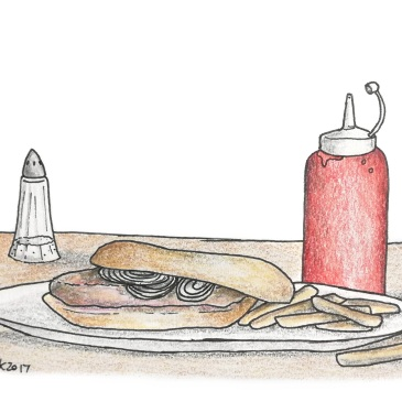 Sketch of a disgusting hamburger on a plate