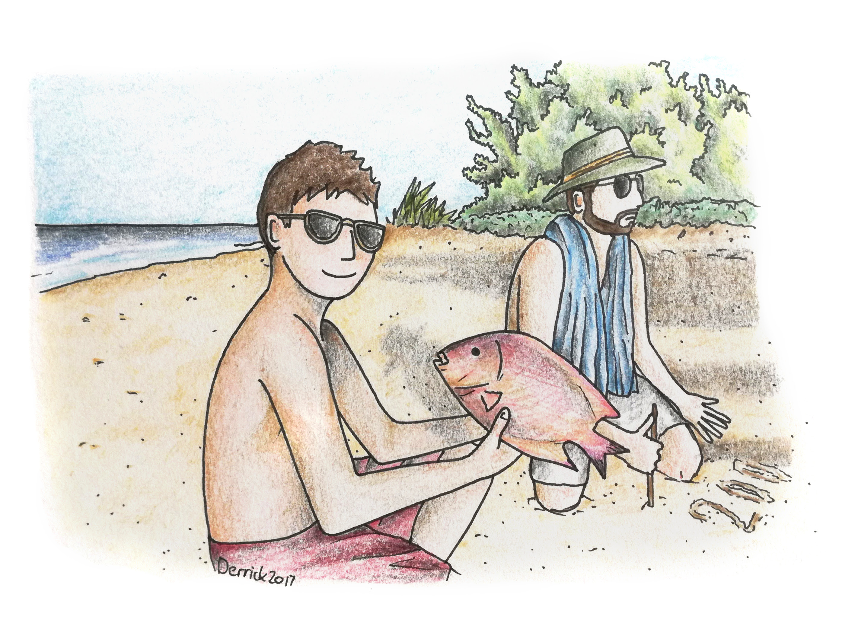Drawing of a man buying a red fish from a fisherman on inhassoro beach