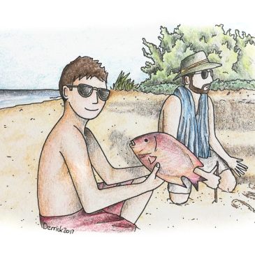 Drawing of a man buying a red fish from a fisherman on the beach