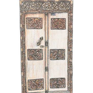 Sketch of a beautifully carved Zanzibar door