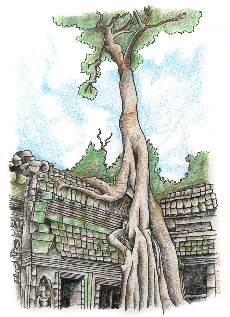 Sketch of ta prohm temple with a tree growing over