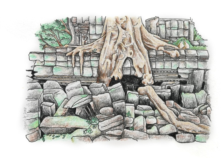 Sketch of ta prohm temple with an overgrown tree