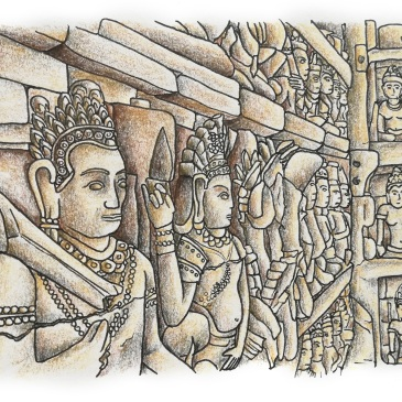 Sketch of stone carvings on the side of angkor wat