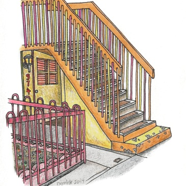 Sketch of a colorful staircase in Montreal