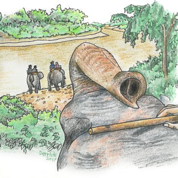 Sketch of an elephant tour in Thailand