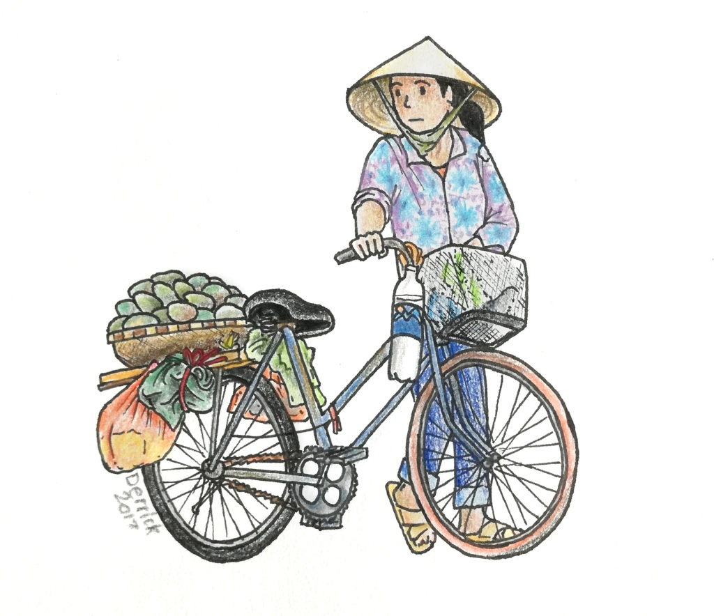 Sketch of a vietnamese lady with a bicycle and vietnamese hat