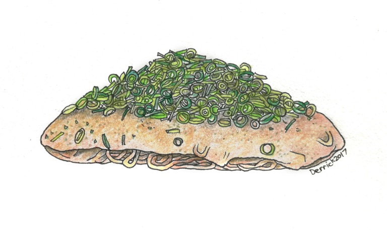 Sketch of hiroshimayaki with chives and noodles