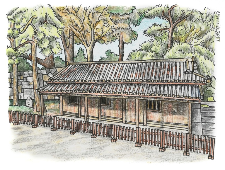 Drawing of a japanese barracks at the imperial palace