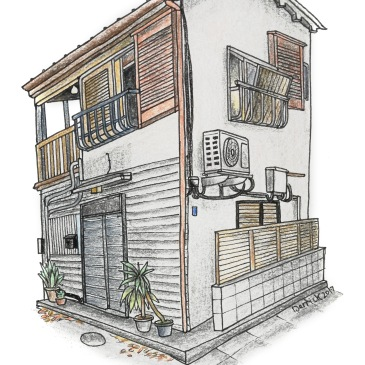 Drawing of a compact japanese house