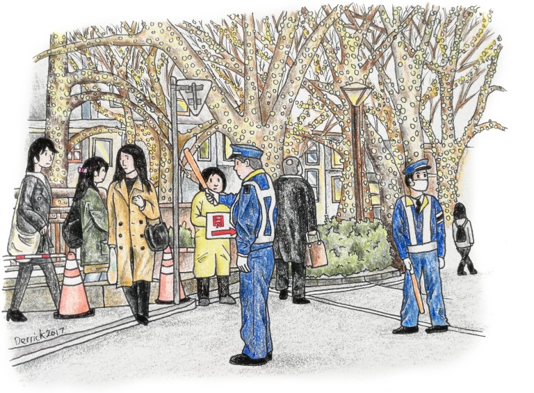 Sketch of Japanese police beneath the trees