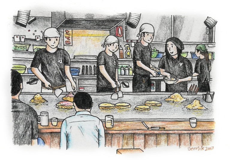 Sketch of an okonomiyaki restaurant