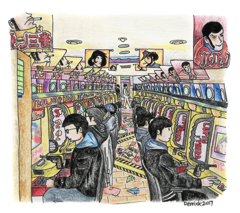 Sketch of a tokyo pachinko arcade full of players