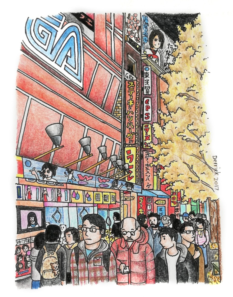 Sketch of people beneath the Sega sign in Akihabara