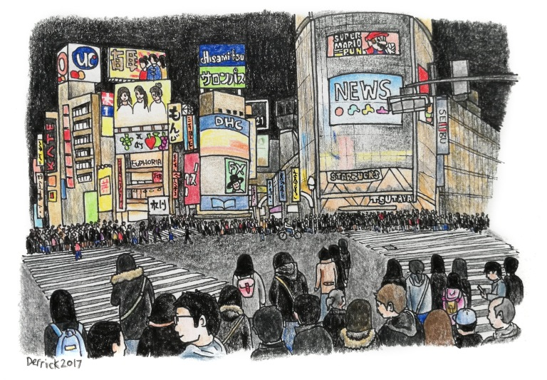 Sketch of Japanese crowds crossing the road in Shibuya