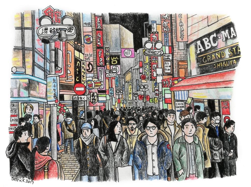 Sketch of crowds of people in Shibuya Tokyo