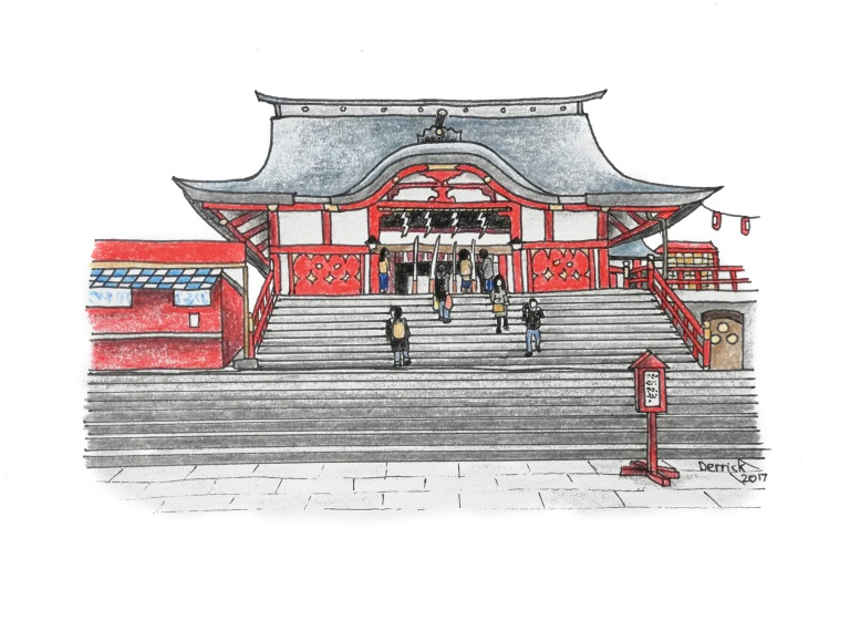 Sketch of a Japanese temple and steps