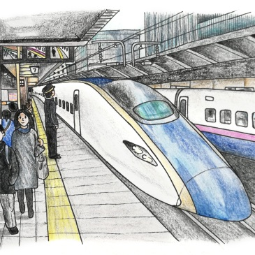 Sketch of a Japanese Shinkansen at a train platform