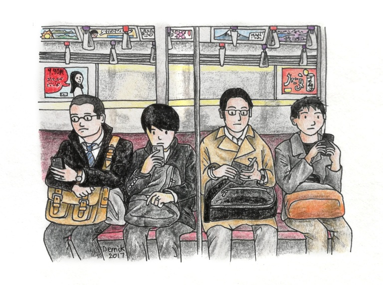 Sketch of Japanese commuters riding the subway