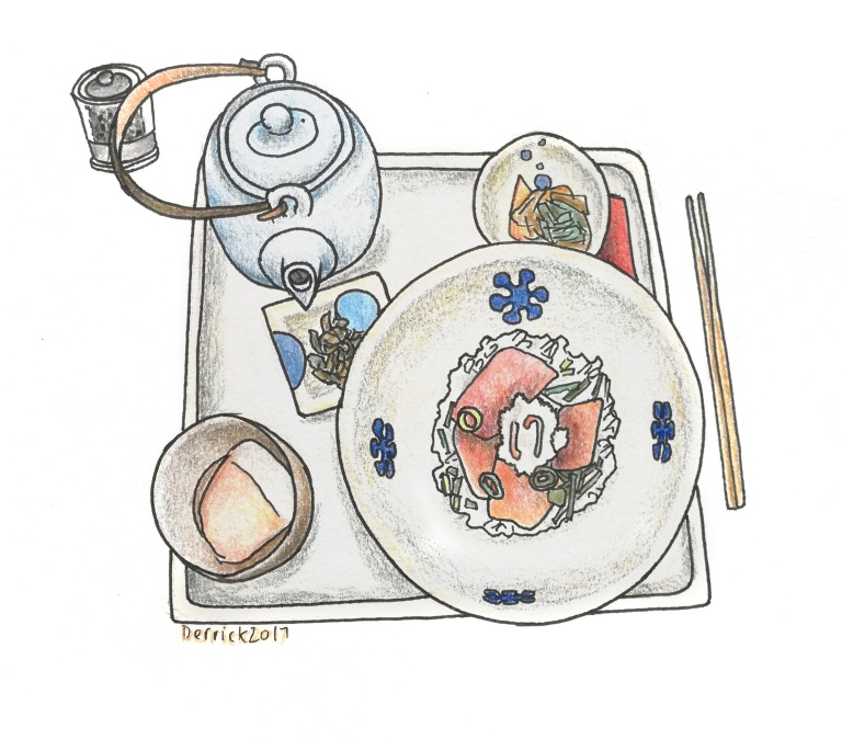Sketch of a Japanese meal with teapot
