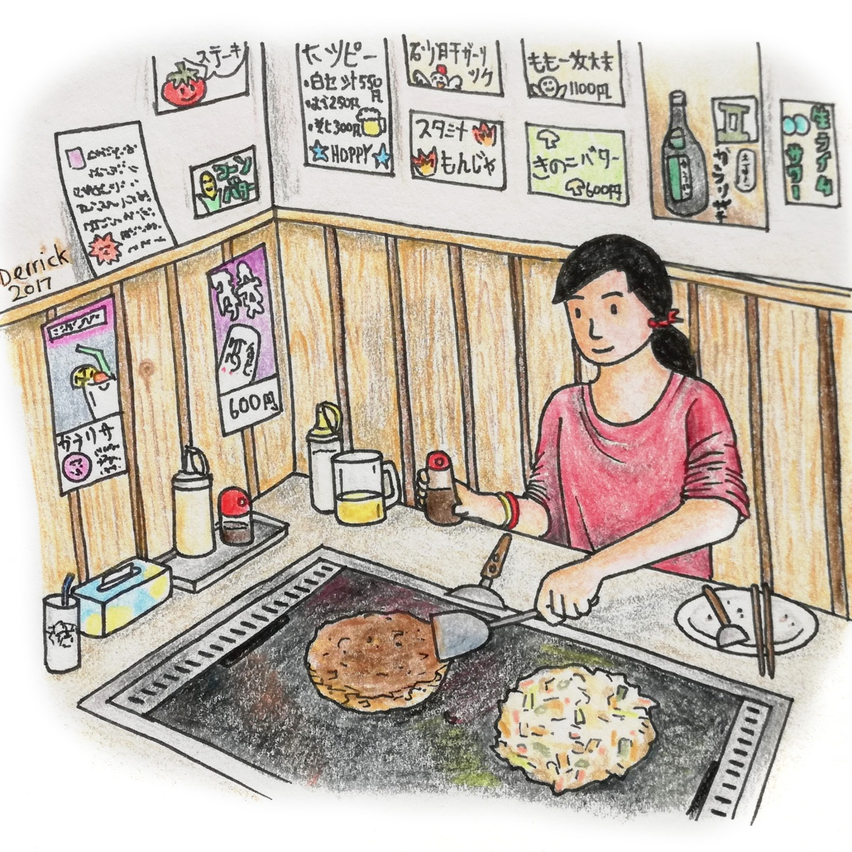 Sketch of a girl preparing okonomiyaki