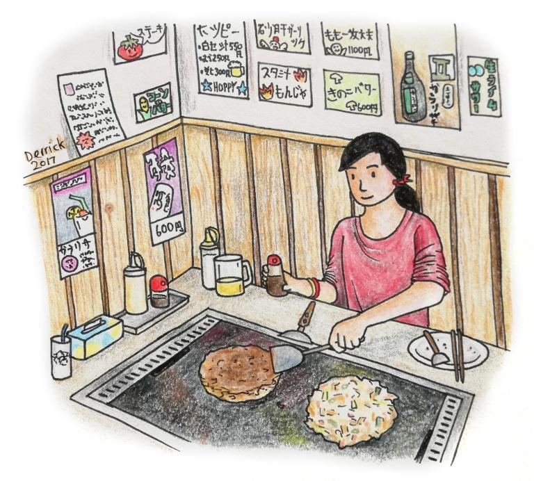 Sketch of a girl preparing okonomiyaki