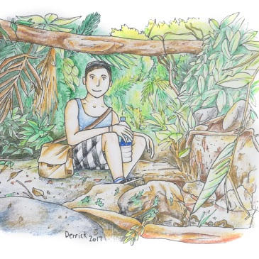 Drawing of a man taking a break on a jungle walk