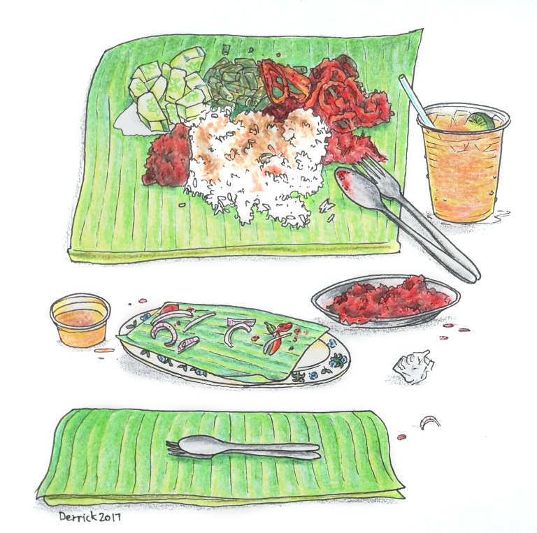 Drawing of Malaysian curry served on a banana leaf