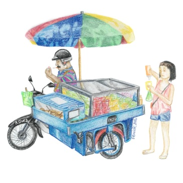 Sketch of a motorcycle food vendor in langkawi