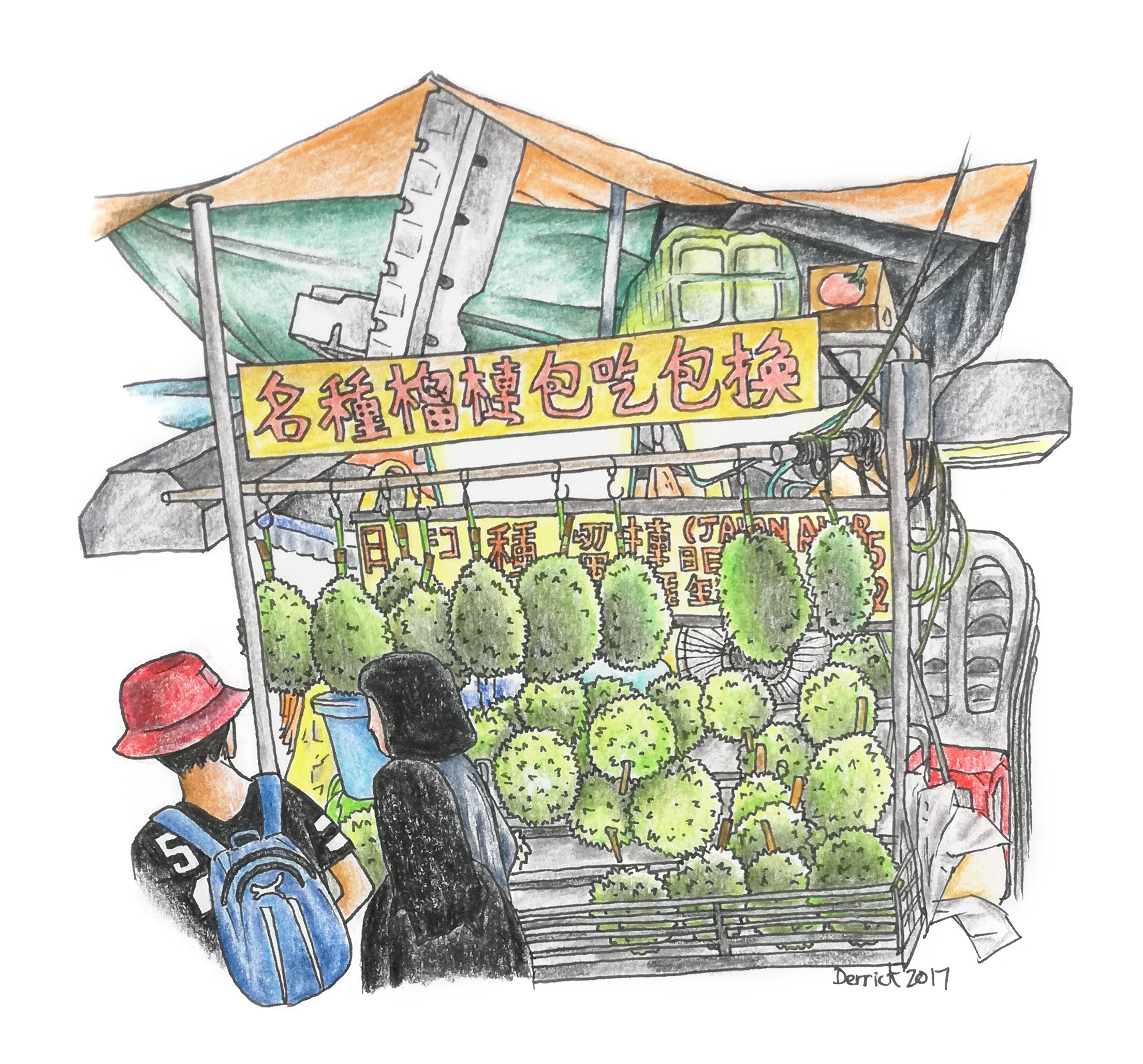 Sketch of a malaysian durian street market stand
