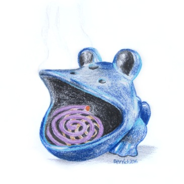 Drawing of a ceramic frog anti-mosquito coil