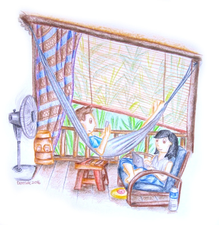Drawing of a couple relaxing on a verandah with a hammock