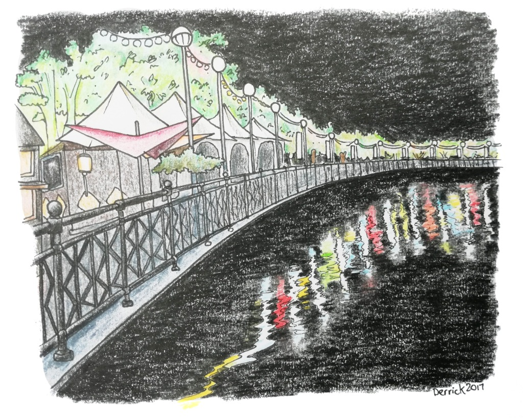 Sketch of coloured lights reflected in the water in kuching
