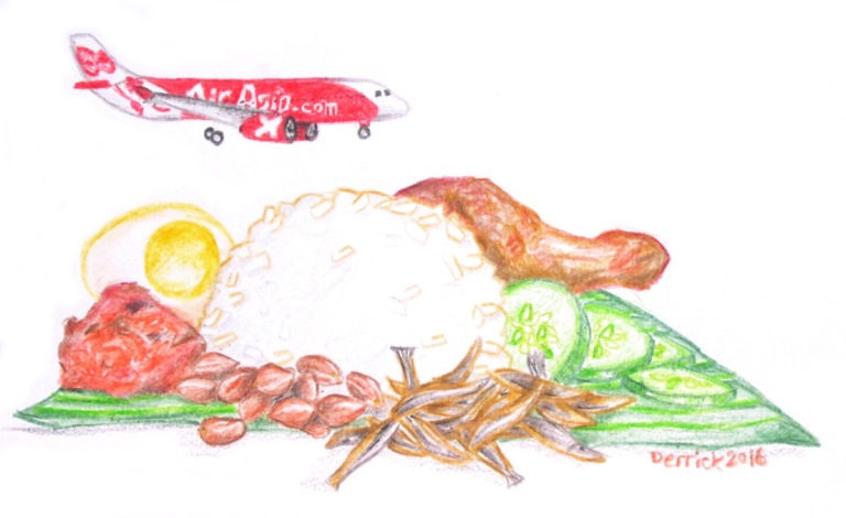 Sketch of a plate of Nasi Lemak with a small Air asia jet landing on it