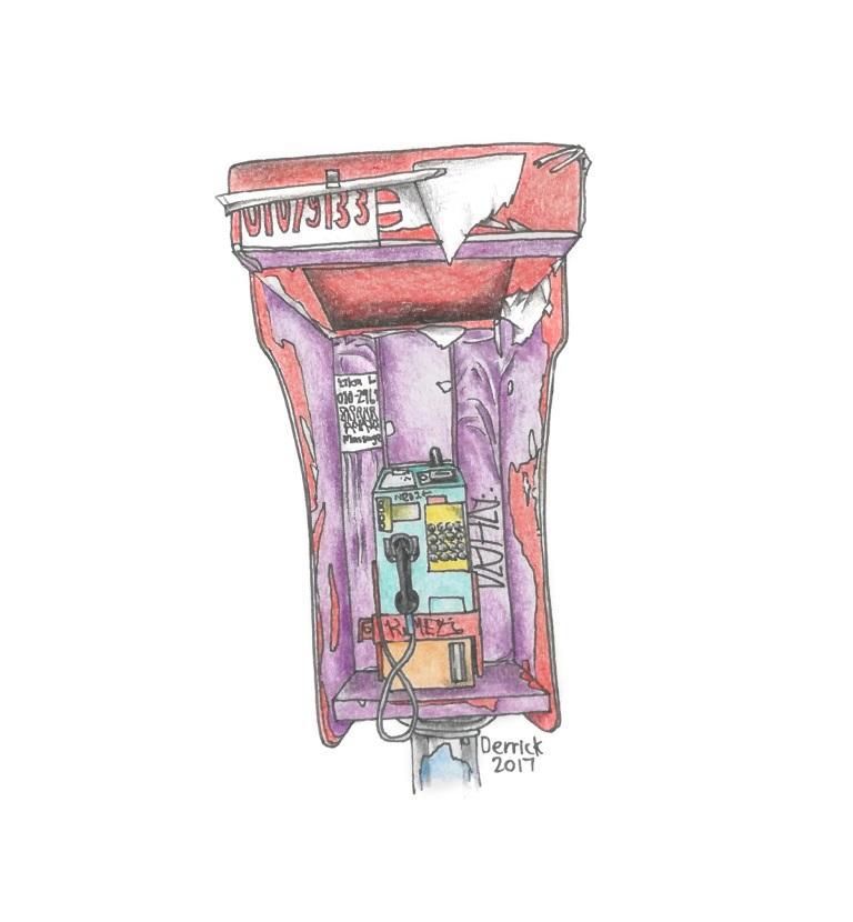 Sketch of a colorful kuala lumpur public phone