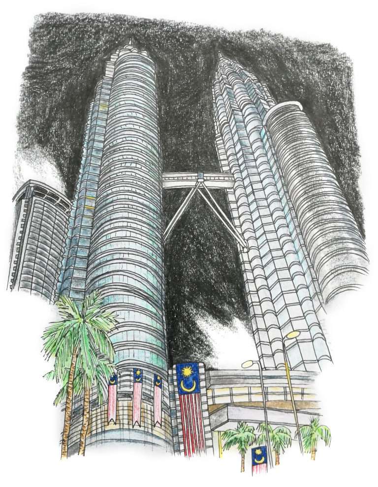 Drawing of the petronas towers with a night sky