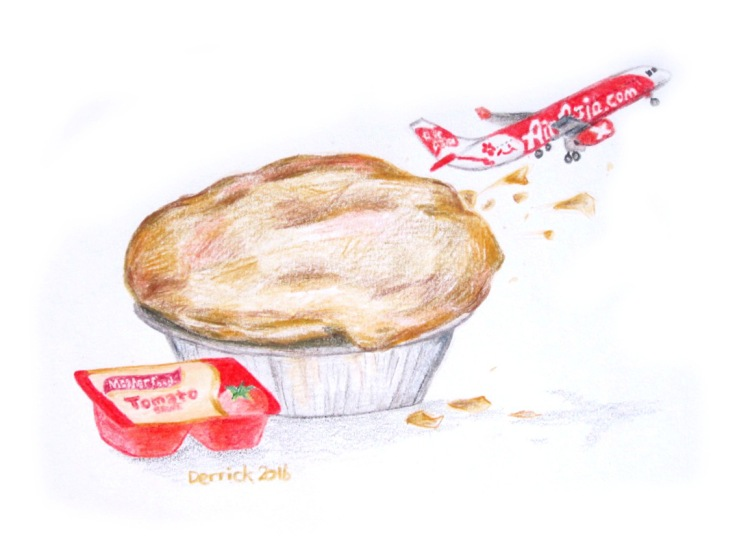 Sketch of a pie with tomato sauce and small Air Asia jet