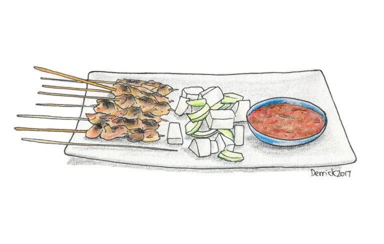 Sketch of skewers of Satay chicken and sauce