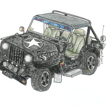 Sketch of a black jeep with a white military star