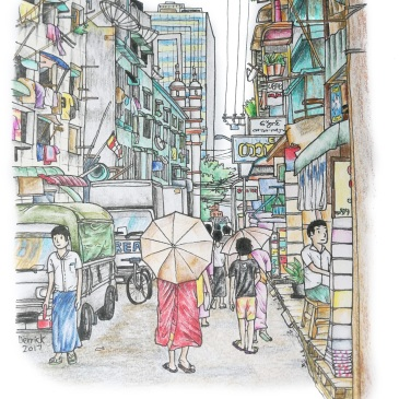 Sketch of a monk with an umbrella in Myanmar's streets